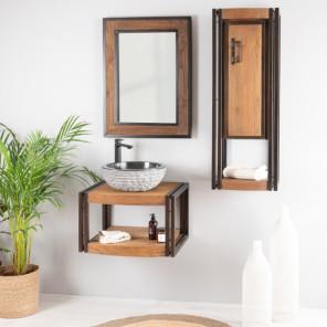 Elegance teak and steel wall-mounted bathroom unit 60 cm