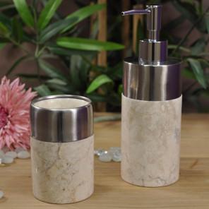 Ensemble Distributeur de savon et gobelet en marbre et inox crème