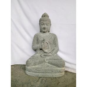 Escultura de Buda de piedra volcánica chakra y mala 80 cm