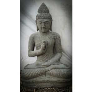 Escultura de Buda sentado de piedra volcánica posición Chakra 80 cm