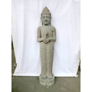 Escultura de jardín de piedra volcánica Buda de pie posición chakra 1m50