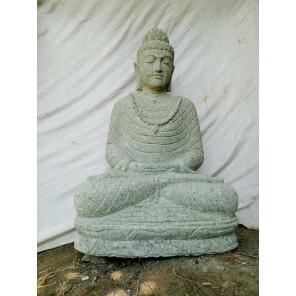 Escultura de piedra volcánica de Buda en posición de ofrenda 1 m