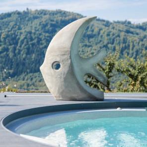 escultura grande diseño pez 100 cm gris