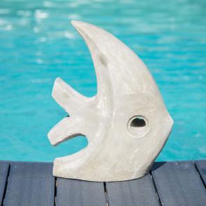 Escultura moderna Jardín Pez Modelo Pequeño Gris 50 cm