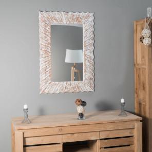 Espejo Alicante de madera con pátina lacada 70 x 100