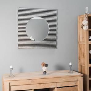 Espejo art déco cuadrado de madera con pátina plateada 80 x 80 cm