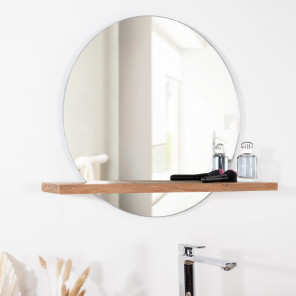 Espejo Bolonia redondo de teca maciza para cuarto de baño
