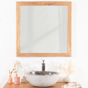 Espejo cuadrado de teca maciza 70