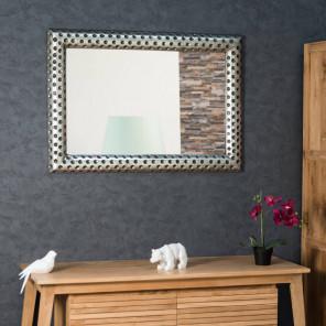 Espejo de madera con pátina plateada Pamplona 70 x 100