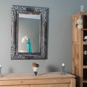Espejo de madera con pátina Valencia 70 x 100 lacado gris