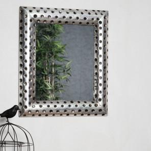 Espejo de madera Pamplona con acabado plateado metal 50 x 60 cm