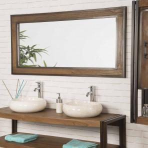 Espejo grande para cuarto de baño Elegancia teca metal 145 x 70