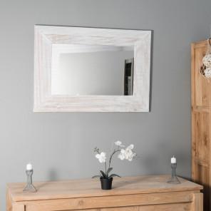 Espejo Madrid de madera con pátina lacada en blanco 70 x 100