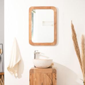 Espejo Retro de teca maciza 70 x 50 cm