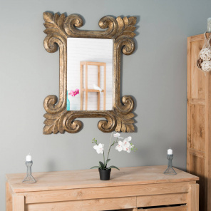 Espejo Toledo con pátina oro dorado 80 x 100