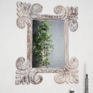 Espejo Toledo de madera con pátina blanca 80 x 100