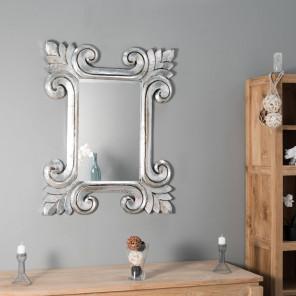 Espejo Toledo de madera con pátina plateada 80 x 100