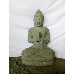 Estatua Buda sentado de piedra volcánica rezo jardín zen 80 cm