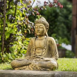 Estatua Buda sentado posición ofrenda dorado 42 cm