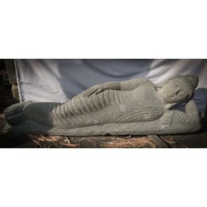 Estatua Buda tumbado de piedra maciza volcánica 1,55 m