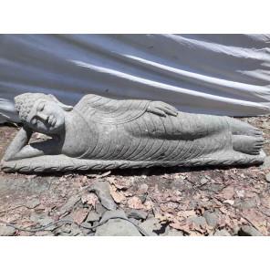 Estatua Buda tumbado de piedra maciza volcánica exterior Zen 1,50 m