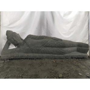 Estatua Buda tumbado de piedra volcánica exterior zen 1,50 m