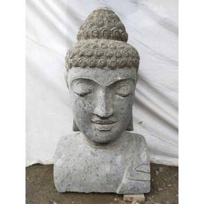 Estatua de Buda busto de piedra volcánica 70 cm