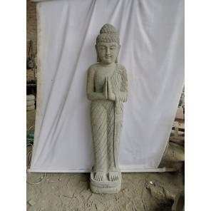 Estatua de Buda de pie, piedra volcánica, posición rezo 1,50m