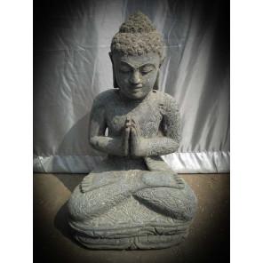 Estatua de Buda sentado de piedra en posición de rezo 50 cm