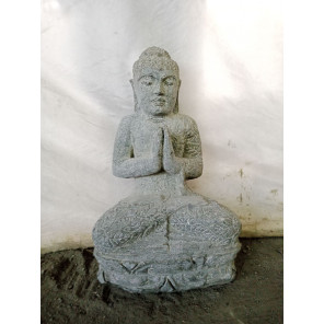 Estatua de Buda sentado de piedra natural posición rezo 50 cm