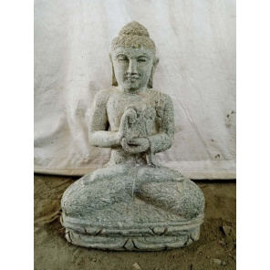 Estatua de Buda sentado de piedra volcánica en posición chakra 60 cm