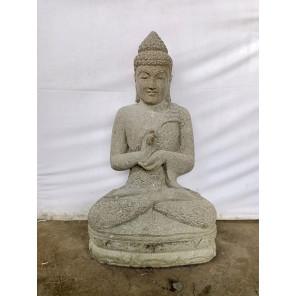 Estatua de Buda sentado posición chakra de piedra volcánica jardín 1 m