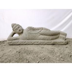 Estatua de Buda tumbado de piedra volcánica zen 1m