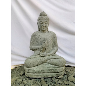 Estatua de jardín Buda sentado de piedra posición chakra y mala 80 cm