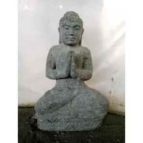 Estatua de jardín de Buda sentado de piedra volcánica en posición de rezo 50 cm