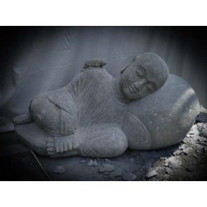 Estatua de jardín de monje shaolin exterior zen de piedra natural 100 cm