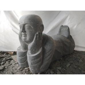 Estatua de jardín de piedra natural monje sonriente 100 cm