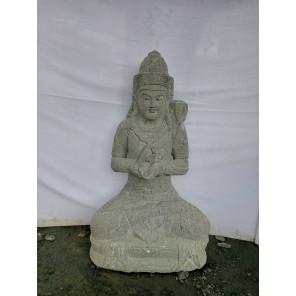 Estatua de jardín de piedra volcánica diosa balinesa 1 m