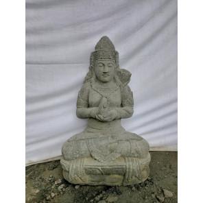 Estatua de jardín grande diosa balinesa Dewi de piedra natural sentada 1m20