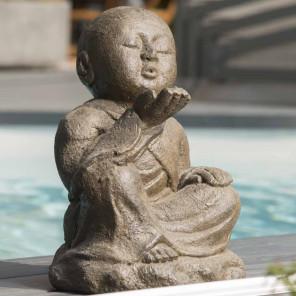 Estatua de jardín monje shaolín feliz pátina marrón envejecida 40 cm