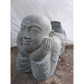 Estatua  de jardín monje tumbado de piedra 1m