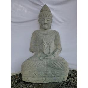 Estatua de jardín zen Buda de piedra en posición de ofrenda con rosario 1 m