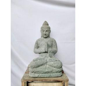 Estatua de jardín zen de Buda sentado de piedra volcánica en posición de rezo 50 cm