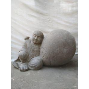Estatua de piedra de jardín zen monje shaolín 1 m