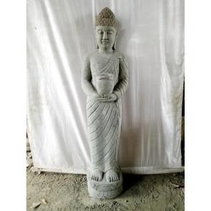 Estatua de piedra volcánica Buda de pie bol ofrenda 1 m