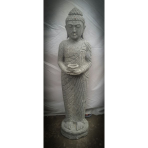 Estatua de piedra volcánica Buda de pie ofrenda bol 1 m