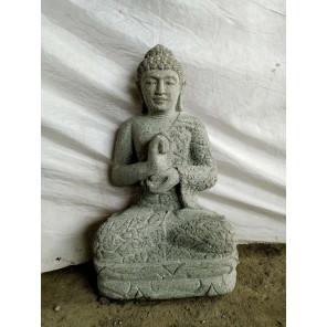 Estatua de piedra volcánica de Buda para jardín zen posición chakra 50 cm