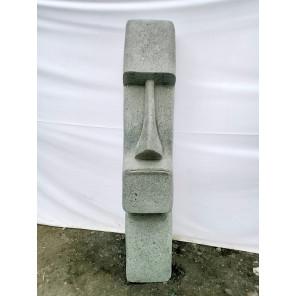 Estatua de piedra volcánica de Moái rostro alargado 120 cm