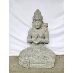 Estatua de piedra volcánica Diosa Dewi posición chakra 80 cm