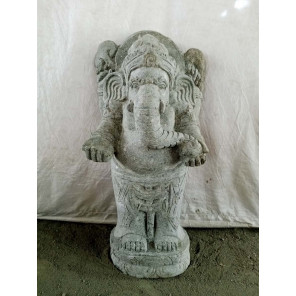 Estatua de piedra volcánica Ganesh hinduismo 80 cm
